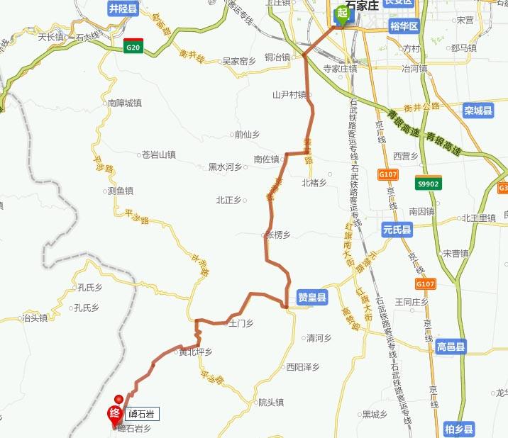 ——107国道——元氏县——元赞公路——赞皇县城——嶂石岩风景区.
